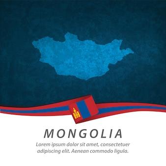 Bandeira da mongólia com mapa central