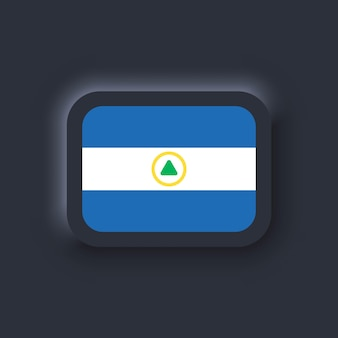 Bandeira da nicarágua. bandeira nacional da nicarágua. símbolo da nicarágua. vetor. ícones simples com bandeiras. interface de usuário escura ux neumorphic ui. neumorfismo