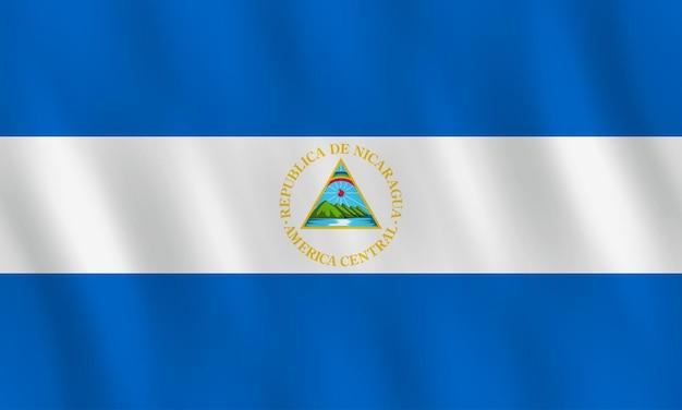 Bandeira da nicarágua com efeito ondulante, proporção oficial.