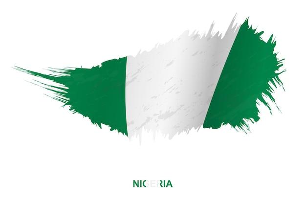 Bandeira da nigéria em estilo grunge com efeito de ondulação, bandeira de pincelada de vetor grunge.