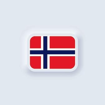Bandeira da noruega. bandeira nacional da noruega. símbolo da noruega. ui ux neumórfico