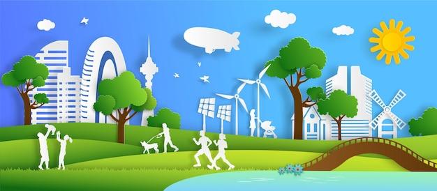 Bandeira da paisagem urbana da natureza e conceito ecologicamente correto com as pessoas