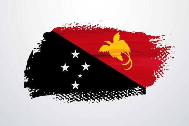 Bandeira da papua nova guiné com pincel