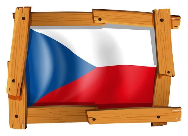 Bandeira da república checa em moldura de madeira