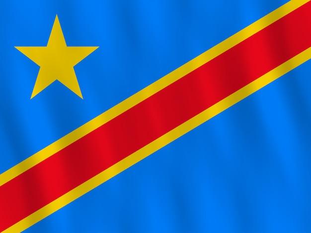 Bandeira da república democrática do congo com efeito de ondulação, proporção oficial.