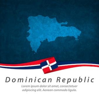 Bandeira da república dominicana com mapa central Vetor Premium