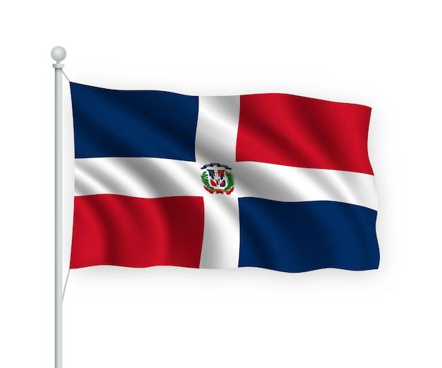 Bandeira da república dominicana no mastro isolado no branco