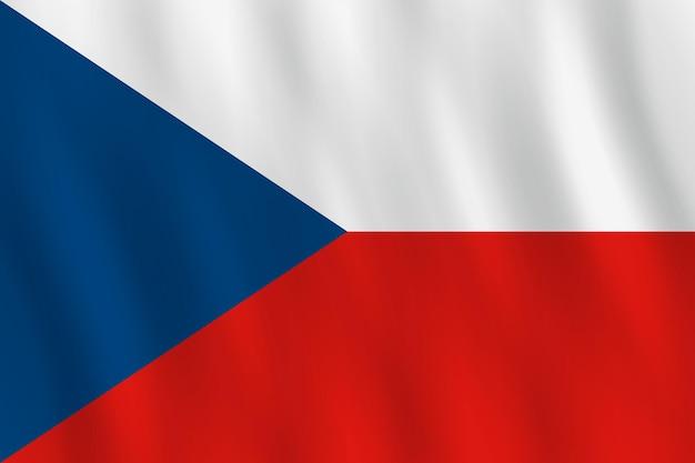 Bandeira da república tcheca com efeito de ondulação, proporção oficial.