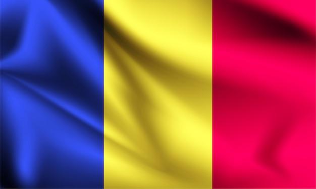 Bandeira da roménia ao vento. parte de uma série. bandeira de ondulação de romênia.