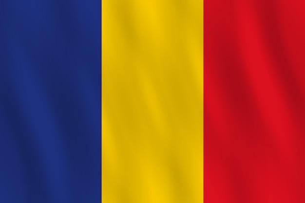 Bandeira da romênia com efeito de ondulação, proporção oficial.