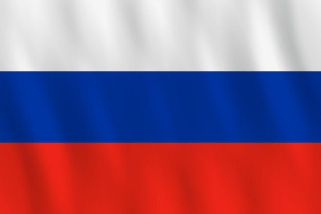 Bandeira da rússia com efeito de ondulação, proporção oficial.