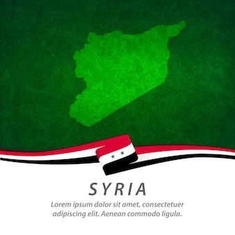 Bandeira da síria com mapa central