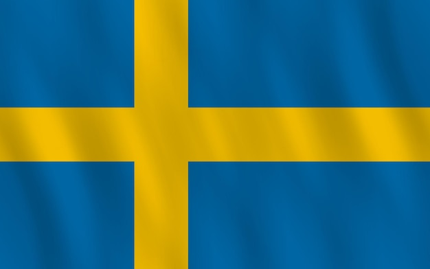 Bandeira da suécia com efeito de ondulação, proporção oficial.