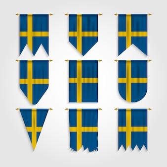 Bandeira da suécia em várias formas