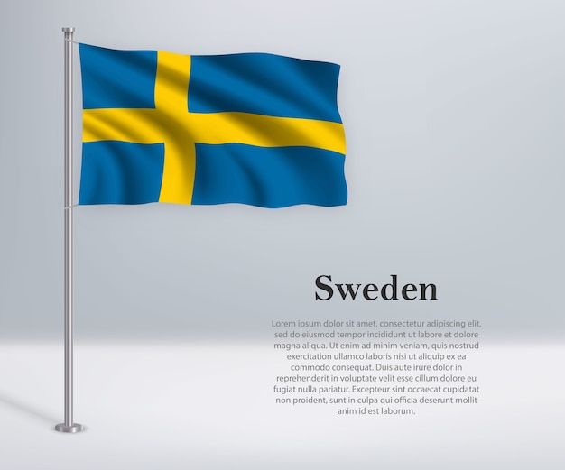 Bandeira da suécia no mastro