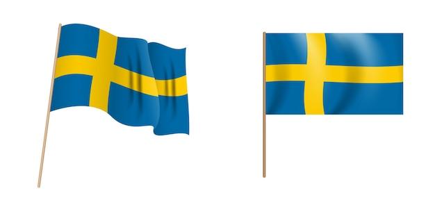 Bandeira da suécia ondulação naturalista colorida.