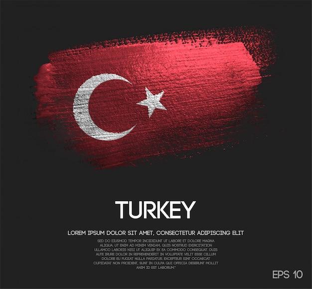 Bandeira da turquia feita de glitter sparkle brush paint