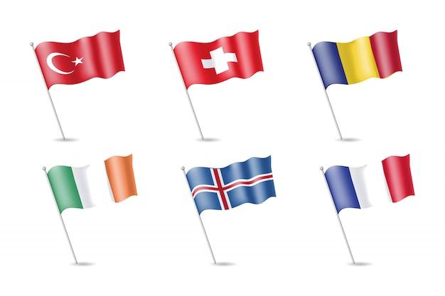 Bandeira da turquia, irlanda, frança, islândia, romênia, suíça no mastro. ilustração vetorial