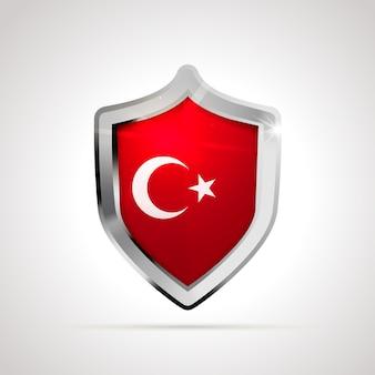 Bandeira da turquia projetada como um escudo brilhante
