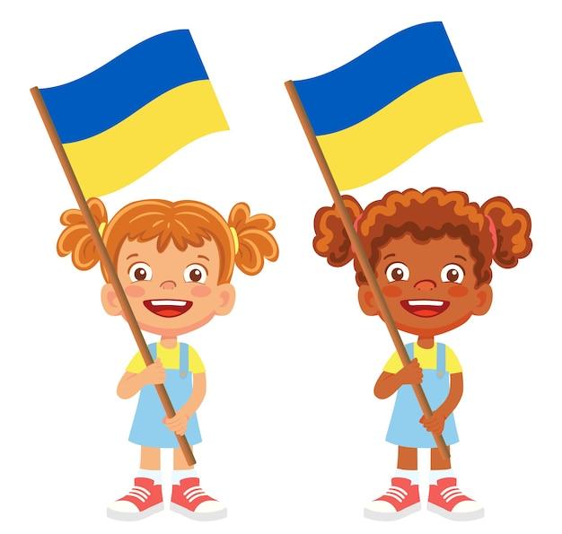 Bandeira da ucrânia na mão. crianças segurando uma bandeira. vetor da bandeira nacional da ucrânia