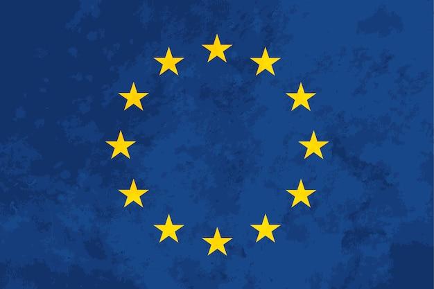 Bandeira da união europeia de proporções verdadeiras com textura