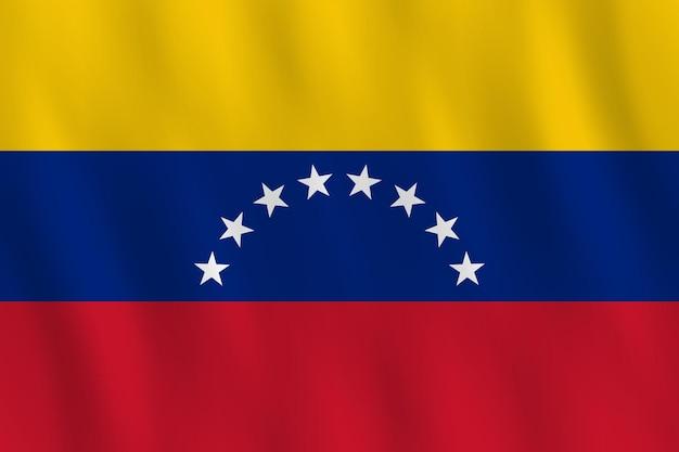 Bandeira da venezuela com efeito ondulante, proporção oficial.