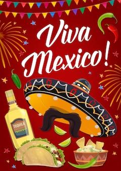 Bandeira da viva méxico com comida mexicana de férias, chapéu sombrero de festa da fiesta do cinco de mayo, pimenta e tequila, tacos, nachos e guacamole de abacate. cartão de felicitações ou design de cartaz de convite