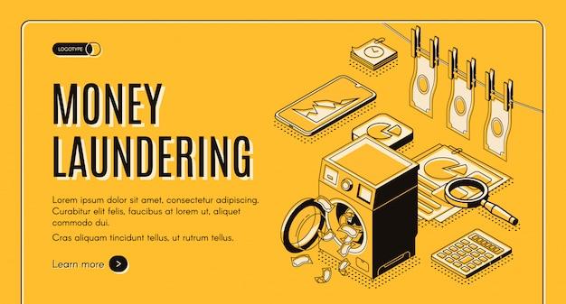 Bandeira da web de lavagem de dinheiro, página de destino.