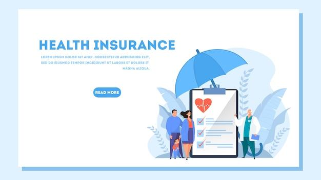 Bandeira da web do conceito de seguro saúde. pessoas e médico em pé na grande prancheta com o documento nele. assistência médica e serviço médico. ilustração