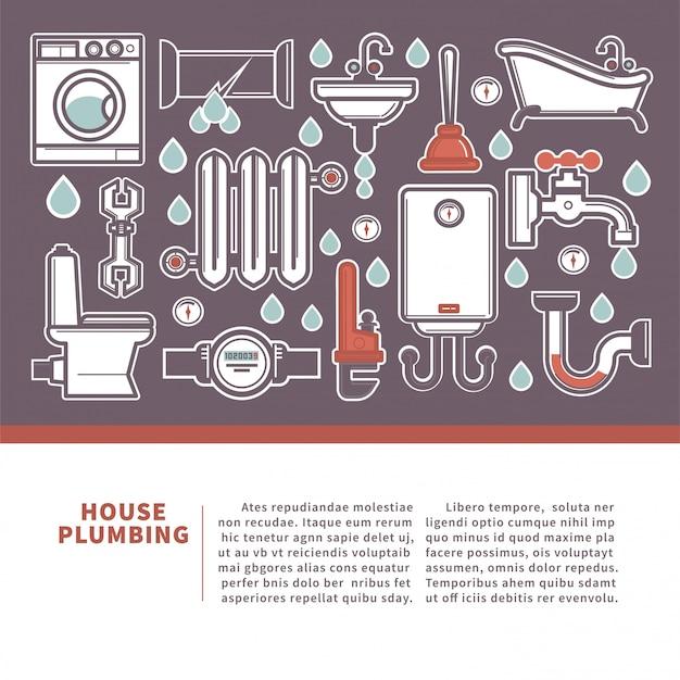 Bandeira da web do encanamento da casa para serviços de reparo da promoção.