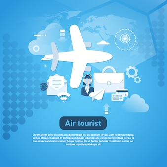 Bandeira da web do turista do ar com espaço da cópia no conceito azul do turismo do fundo