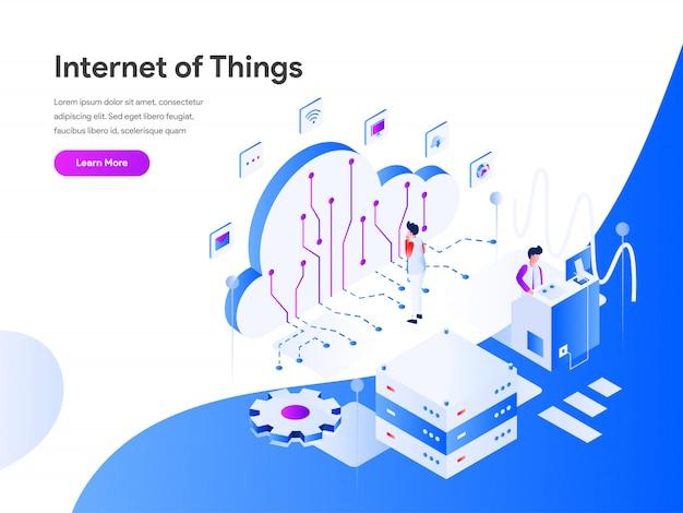 Bandeira da web isométrica de internet das coisas