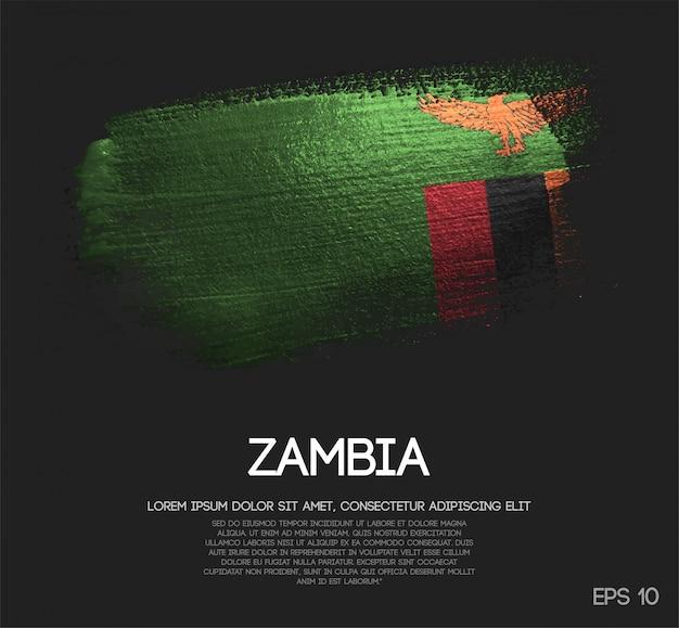 Bandeira da zâmbia feita de glitter brilho pincel pintura vector