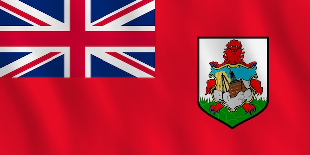 Bandeira das bermudas com efeito ondulado, proporção oficial.