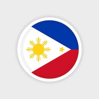 Bandeira das filipinas com moldura circular e fundo branco