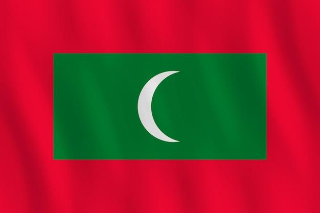Bandeira das maldivas com efeito ondulante, proporção oficial.