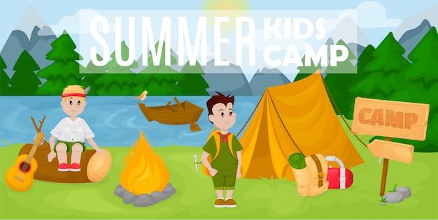 Bandeira de acampamento de crianças de verão