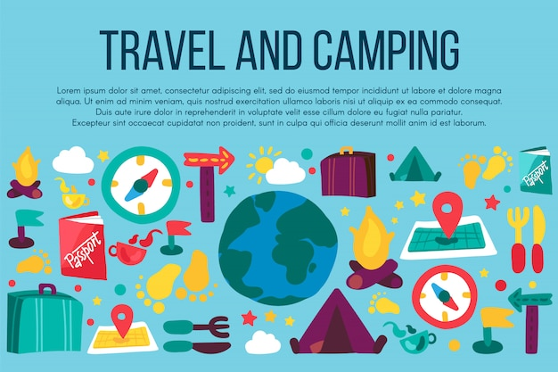 Bandeira de acampamento e viagens dos desenhos animados