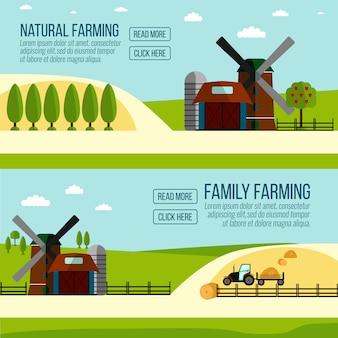 Bandeira de agricultura natural. agricultura, agricultura e paisagem rural.