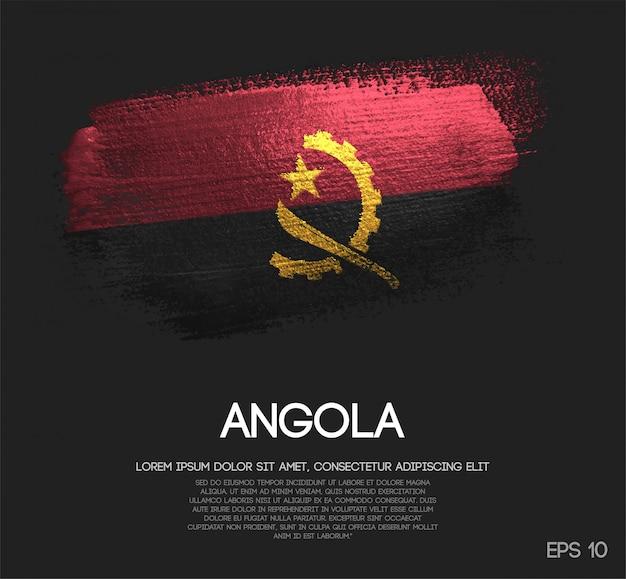 Bandeira de angola feita de glitter brilho pincel pintura vector