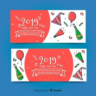 Bandeira de ano novo 2019 de mão desenhada