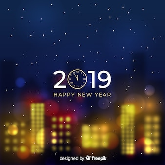 Bandeira de ano novo turva de 2019