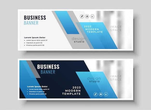 Bandeira de apresentação de negócios azul moderno geométrico