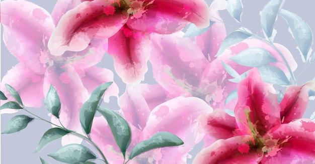 Bandeira de aquarela de flores de lírio