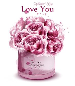 Bandeira de aquarela de flores de peônia rosa