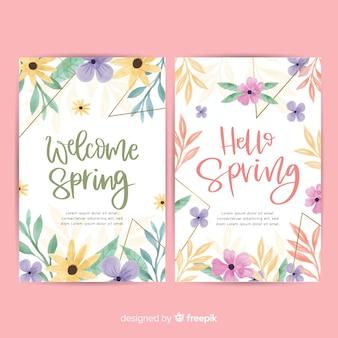Bandeira de aquarela floral primavera