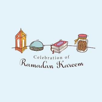 Bandeira de arte islâmica doodle para ramadan kareem