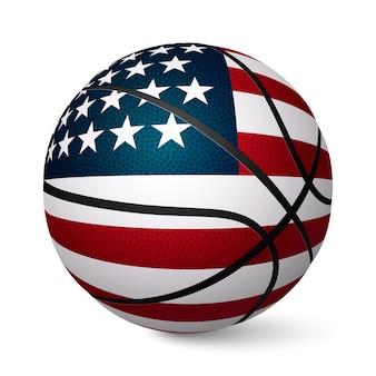 Bandeira de bola de basquete dos eua isolada no fundo branco.