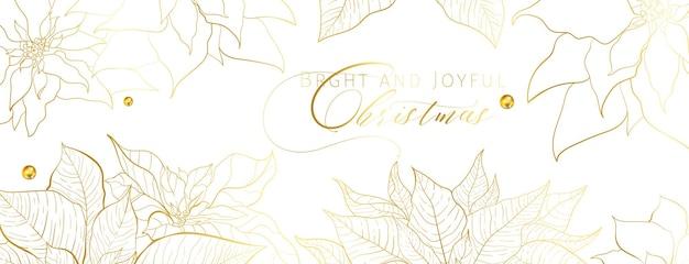 Bandeira de cabeça branca de poinsétia de natal em um estilo elegante e luxuoso. folhas de poinsétia de linha dourada