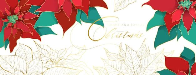 Bandeira de cabeça branca de poinsétia de natal em um estilo elegante e luxuoso.
